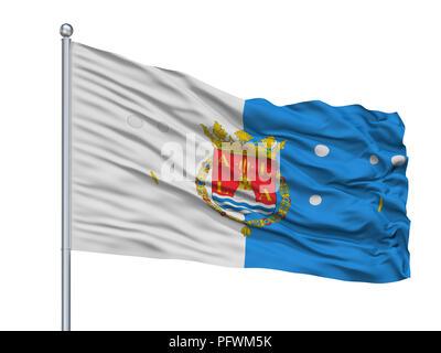 Slovenia City Flag On Flagpole, Slovenia, Isolated On White Background - Stock Photo