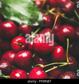Fresh sweet cherry texture, wallpaper and background, square crop - Stock Photo