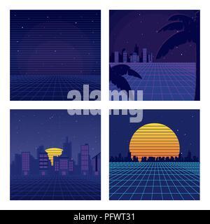 Set of sci fi backgrounds - Stock Photo