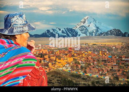 The peak of Huayna Potosi from El Alto above, La Paz, Bolivia. La Paz and El Alto are critically short of water and will probably be the first capital - Stock Photo