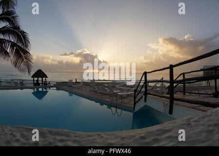 Zona hotelera with lagoon in Cancun, Mexico - Stock Photo