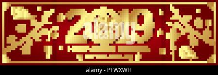 gold on red pig horizontal banner for chinese new year 2019 hieroglyph translation happy