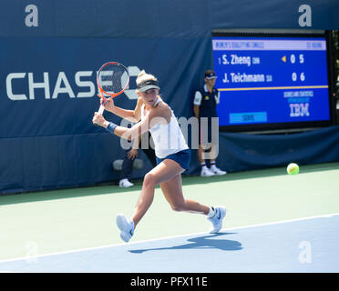 New York, United States. 21st Aug, 2018. Jil Teichmann of Switzerland returns ball during qualifying day 1 against Saisai Zheng of China at US Open Tennis championship at USTA Billie Jean King National Tennis Center Credit: Lev Radin/Pacific Press/Alamy Live News - Stock Photo