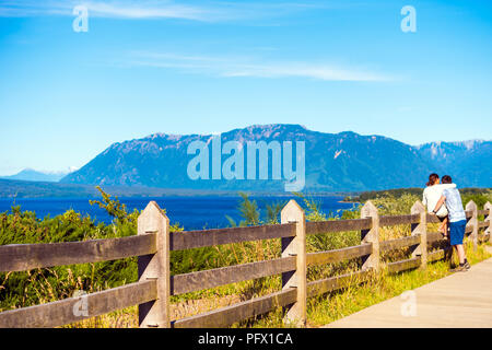 Wooden fence near the Llanquihue lake, nacional park Vicente Perez Rosales, Puerto Varas, Chile. Copy space for text - Stock Photo