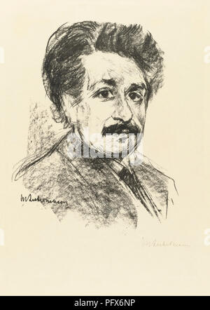Portrait of Albert Einstein, after a work by Max Liebermann.  Albert Einstein, German-born physicist, 1879-1955. Max Liebermann, German artist, 1847-1935. - Stock Photo