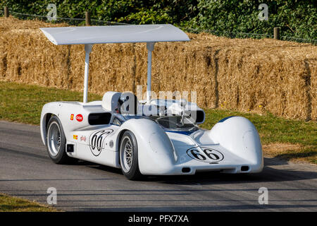 1966 Chaparral-Chevrolet 2E Can-Am racer with driver Kai Anderson at the 2018 Goodwood Festival of Speed, Sussex, UK. - Stock Photo