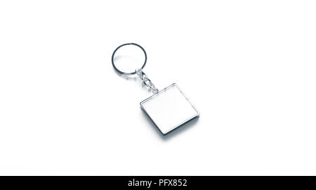 Blank Metal Square White Key Chain Mock Up Side View 3d Rendering