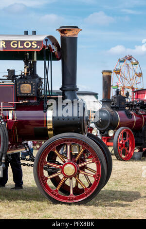 Traction engines at a steam fair in England - Stock Photo