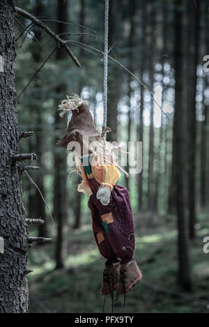 Sinister image with a scarecrow hanged with a white rope from a tree without leaves, in a dark forest. - Stock Photo