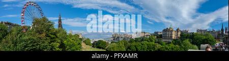 Edinburgh, Scotland Skyline panorama viewed from the Playfair Steps on a beautiful summer afternoon - Stock Photo