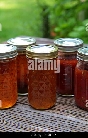 Canning Season for Salsa & Jalapeno Jelly - Stock Photo