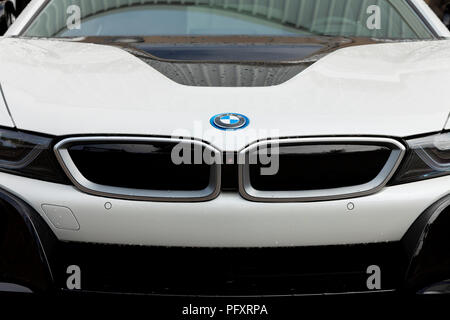 New BMW i8 Coupe of white color exposed at the Fair Trade of Gijon 2018, August 16, 2018. Spain. - Stock Photo