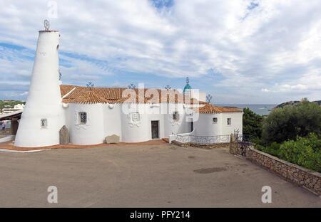 Neo-Baroque style Stella Maris church, landmark, Porto Cervo, Costa Smeralda, Sardinia, Italy - Stock Photo