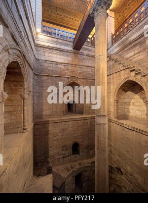 The interior of the Kilometer, used for measuring the annual  Nile flood for taxation purposes, built in 861 by the Abbasid caliph al-Mutawakkil - Stock Photo