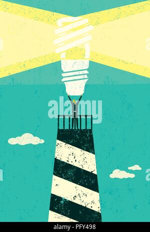 Energy conservation lighthouse. A businessman holding up a bright, energy efficient light bulb, atop a lighthouse. - Stock Photo