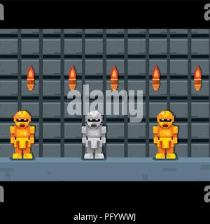 videogame interface with pixelated robots, colorful design. vector illustration - Stock Photo