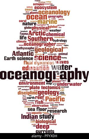 Oceanography word cloud concept. Vector illustration - Stock Photo
