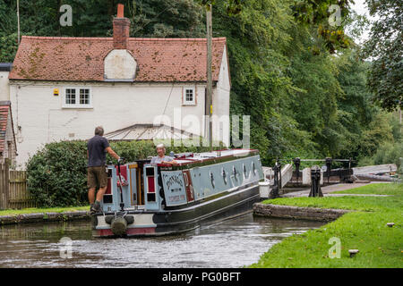 Boating on the Staffordshire and Worcestershire Canal at Hyde Lock No 12 near Kinver, Staffordshire, England, UK - Stock Photo