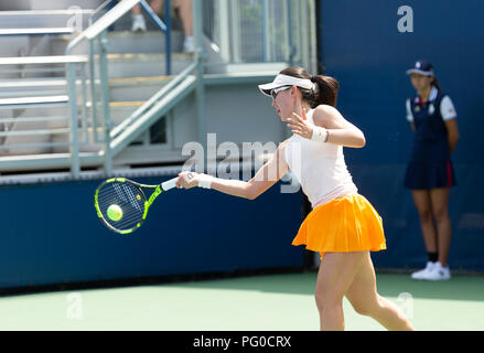 New York, United States. 21st Aug, 2018. Saisai Zheng of China returns ball during qualifying day 1 against Jil Teichmann of Switzerland at US Open Tennis championship at USTA Billie Jean King National Tennis Center Credit: Lev Radin/Pacific Press/Alamy Live News - Stock Photo