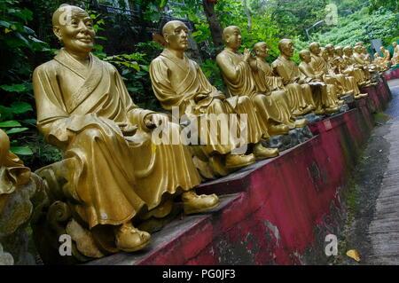Statues at Ten Thousand Buddhas Monastery in Sha Tin, Hong Kong, China. 02.08.2018 - Stock Photo