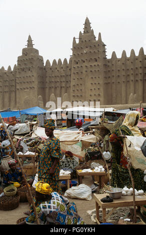 Monday market at The Great Mosque in Djenne, Mali                FOR EDITORIAL USE ONLY - Stock Photo