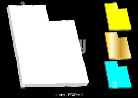 3D map of Utah (United States of America) - white, yellow, blue and gold - vector illustration - Stock Photo