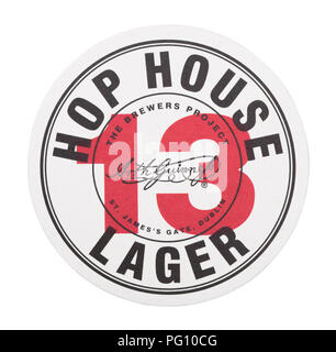 LONDON, UK - AUGUST 22, 2018: 13 Hop House Lager paper beer beermat coaster isolated on white background. - Stock Photo