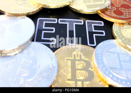 A crypto ETF - the next step towards a decentrailzed future - bitcoin ETF pixelated - Stock Photo