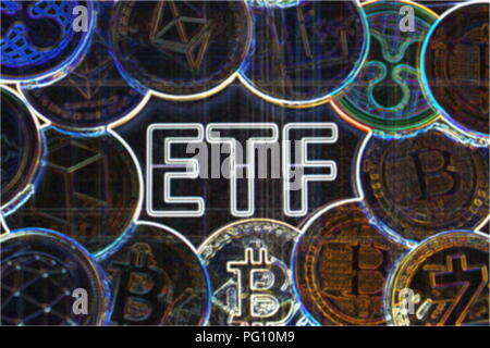A crypto ETF - the next step towards a decentrailzed future for our money - bitcoin ETF colorful psychodelic - Stock Photo