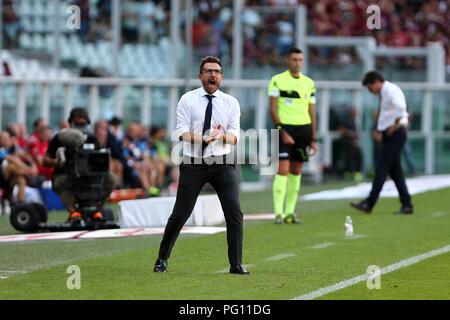 Eusebio Di Francesco, head coach of As Roma , gestures during  Torino Fc and As Roma . - Stock Photo