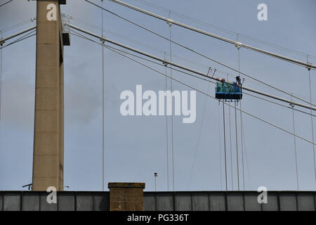 Saltash, Cornwall, UK. 23rd Aug, 2018. UK Weather. Sunny luchtime at Saltash. Seen here working carrying out maintenance on the Brunel bridge that links Cornwall to Devon across the Tamar. Credit: Simon Maycock/Alamy Live News - Stock Photo