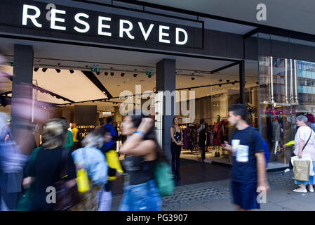 London.23rd August 2018. Reserved to present a new collection of clothes opening the same autumn season on during the evening shopping promotion.'Oxford Street In-Store Event' a year after the official opening of the Oxford Street store. Photo©Marcin Libera ; Reserved; @ReservedUK @Reserved #ReservedforLondon #ReservedUK @BritishVogue #BritishVogue #Vogue #Denim @DenimandSupplyRalphLauren - Stock Photo