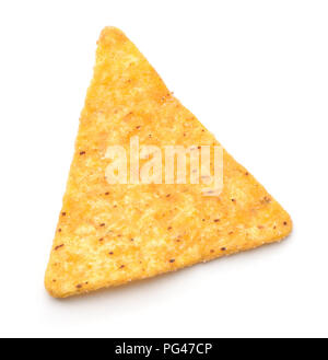 Top view of single nacho chip isolated on white - Stock Photo