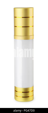 Blank closed perfume bottle  isolated on white - Stock Photo