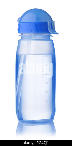 Reusable blue sport water bottle isolated on a white - Stock Photo