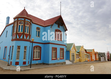 Blue colonial house in Luderitz, Namibia - Stock Photo