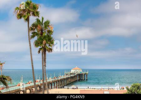 Palm trees at Manhattan Beach. Fashion travel and tropical beach concept. - Stock Photo