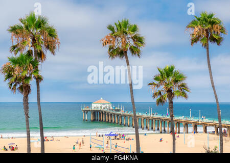 Palm trees at Manhattan Beach. Fashion travel and tropical beach concept. - Stock Photo