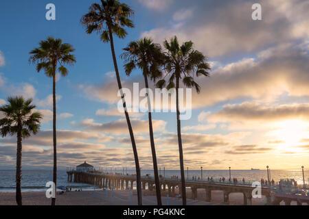 California beach at sunset, Los Angeles, California. - Stock Photo
