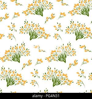 Floral seamless pattern with different flowers and leaves. Botanical illustration  hand painted. Textile print, fabric swatch, wrapping paper. - Stock Photo