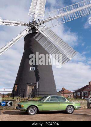 1972 BMW 3.0 CSL Holgate Windmill York UK - Stock Photo