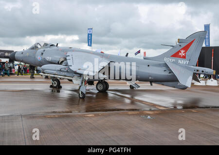 BAE Sea Harrier FA2 of British Royal Navy on static display at the Royal International Air Tattoo RIAT RAF Fairford, Cotswolds, UK - Stock Photo