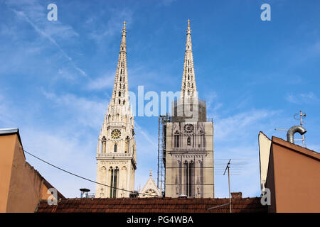 Zagreb Cathedral in the evening. Stock Photo