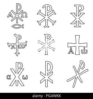 Christian symbols icons set. Glossy Chi Rho, Christogram, Chrismon, Labarum symbols set. - Stock Photo