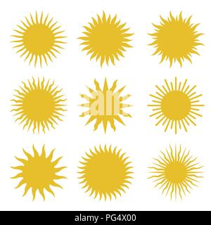 Rays, beams element. Sunburst, starburst shape on white. Radiating, radial, merging lines. Abstract circular geometric shape. Vector set collection. - Stock Photo