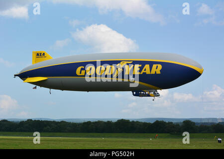 The 246-foot-long blimp at Wyoming Valley Airport in Forty Fort PA.on Tues afternoon 8-20-2018. Wingfoot One is a new generation of Goodyear blimps. - Stock Photo