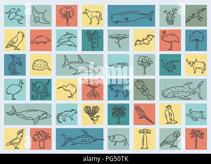 Flat Australia and Oceania flora and fauna  elements. Animals, birds and sea life simple line icon set. Vector illustration - Stock Photo