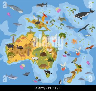 Australia and Oceania flora and fauna map, flat elements. Animals, birds and sea life big set. Build your geography infographics collection. Vector il - Stock Photo