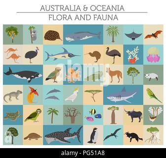 Australia and Oceania flora and fauna, flat elements. Animals, birds and sea life big set. Build your geography infographics collection. Vector illust - Stock Photo