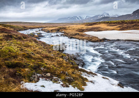 River landscape in Icelan, Pingvallavegur - Stock Photo